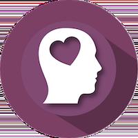 Heart in brain icon